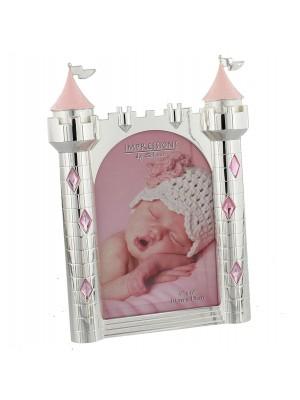 Фоторамка със сребърно покритие замък - розово