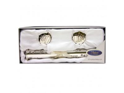 JULIANA Цилиндър за съхранение на сертификат от раждане със сребърно покритие и кутийки за зъбче и косичка