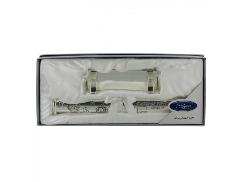JULIANA Цилиндър за съхранение на сертификат от раждане или кръщене със сребърно покритие 1
