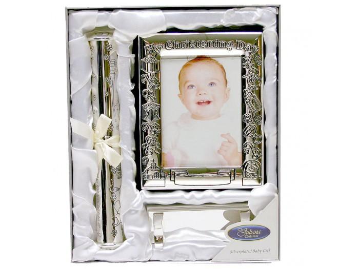 JULIANA Подаръчен комплект за кръщене със сребърно покритие