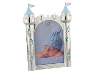 Фоторамка със сребърно покритие замък - синьо