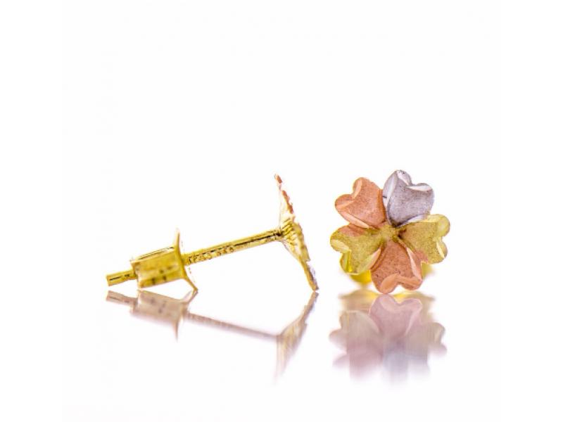 Златни обеци Три цвята