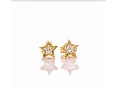Златни обеци Звездички