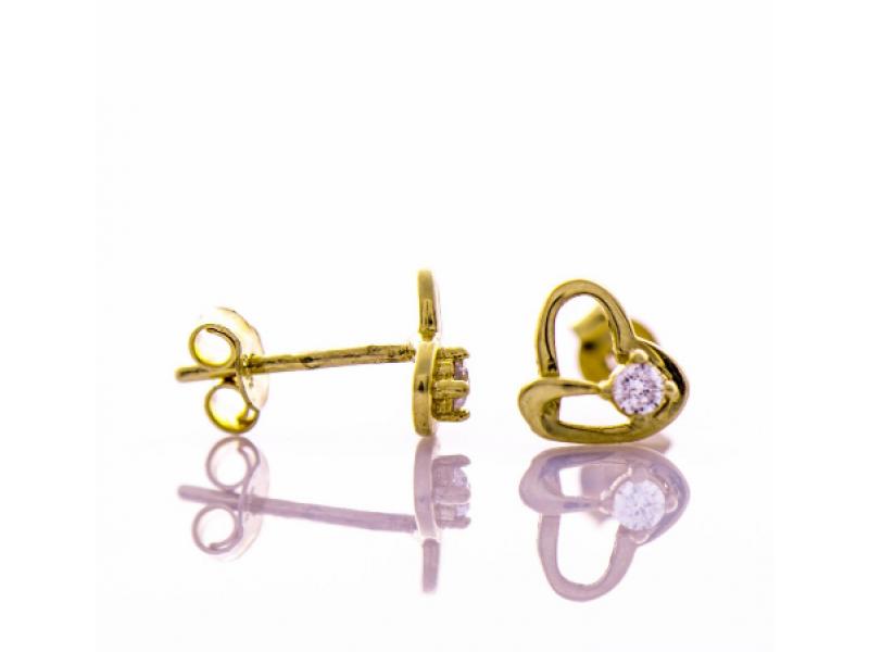 Златни обеци Сърца с циркон