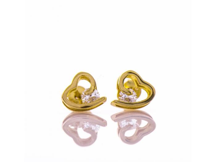 Златни обеци Сърце