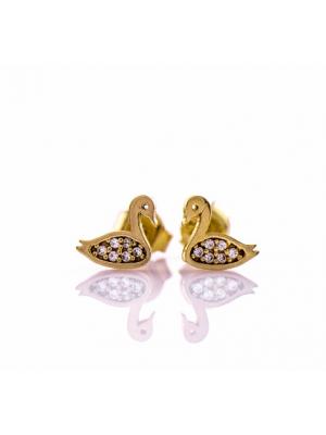 Златни обеци Лебеди