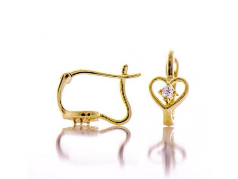 Златни обеци Сърца