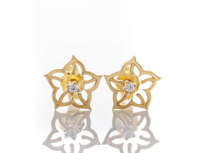 Златни обеци Цвете с циркон