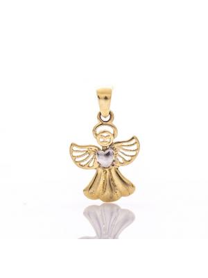 Златна висулка Ангелче със сърце