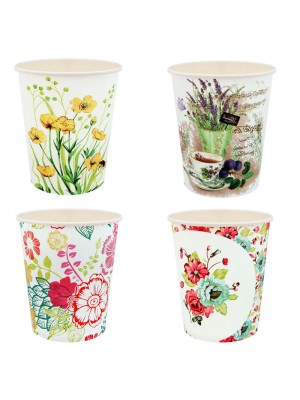 Парти чашки с цветя 10 броя