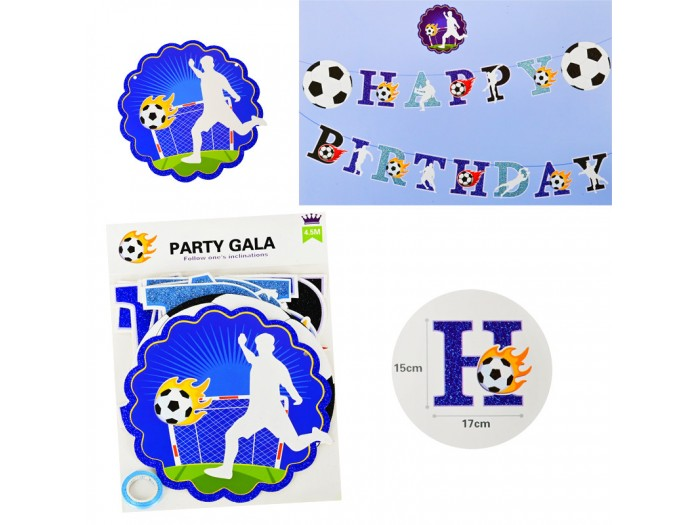 "Парти надпис ""Happy Birthday"" - Футболист"