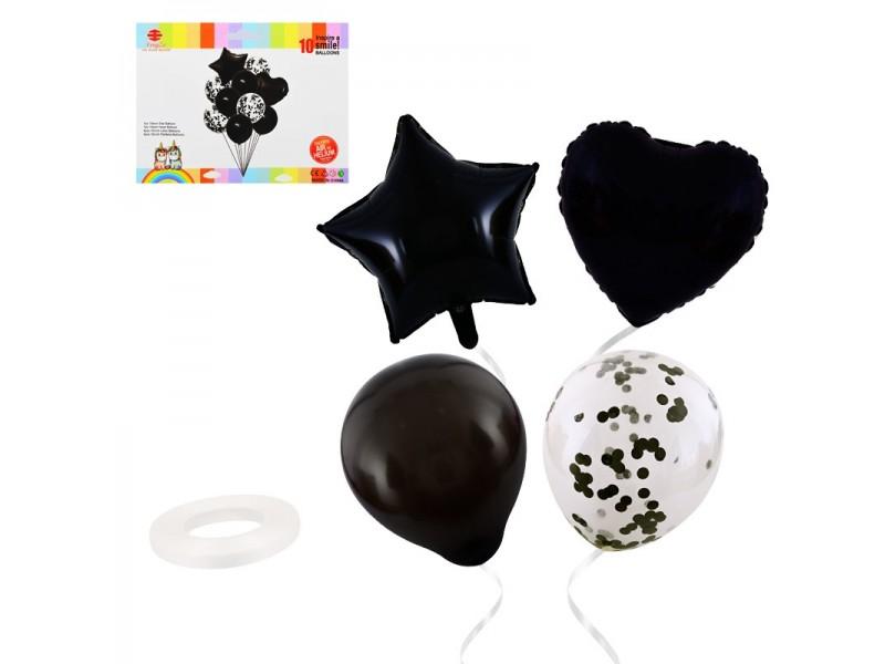 """Комплект балони """"Звезда и сърце"""" 10 броя"""
