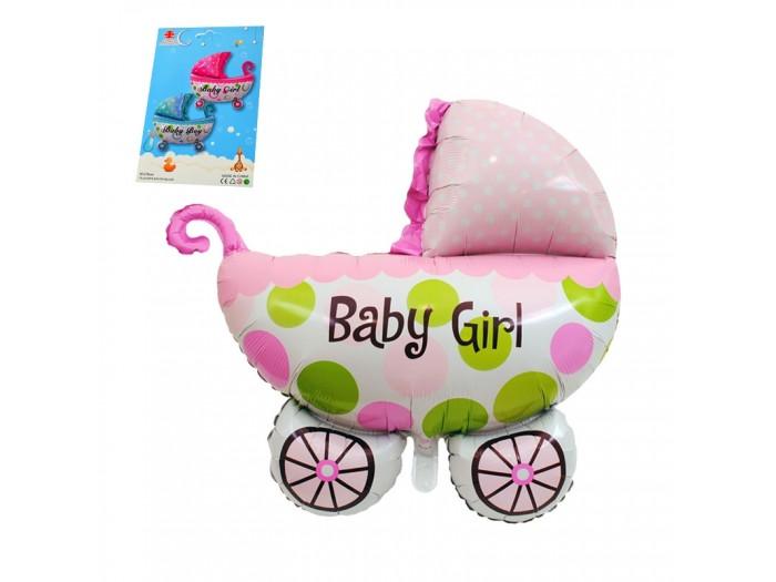 Балон бебешка количка - розов/ син