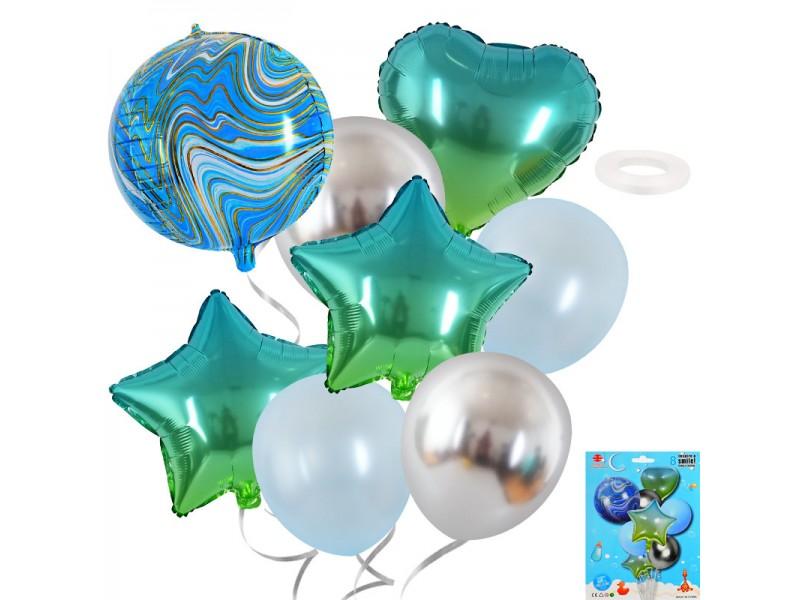 """Комплект балони """"Звезди и Сърце"""" - 8 броя"""
