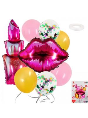 """Комплект балони """"Целувка и червило"""" 8 броя"""