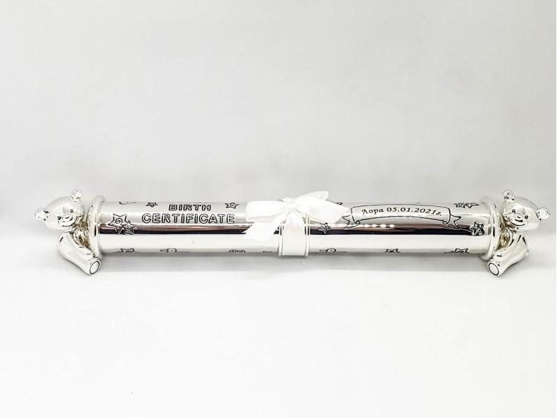 Twinkle Twinkle Цилиндър за съхранение на сертификат от раждане със сребърно покритие