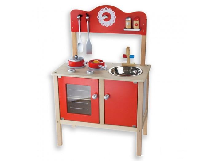 Голяма червена кухня с аксесоари