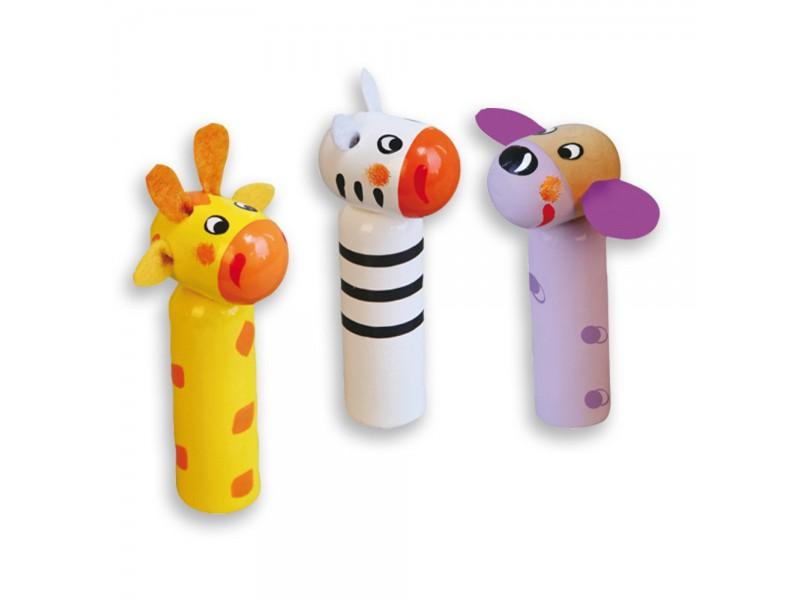 """Играчка с чукче """"Подскачащи животни"""" куче, жираф и зебра"""