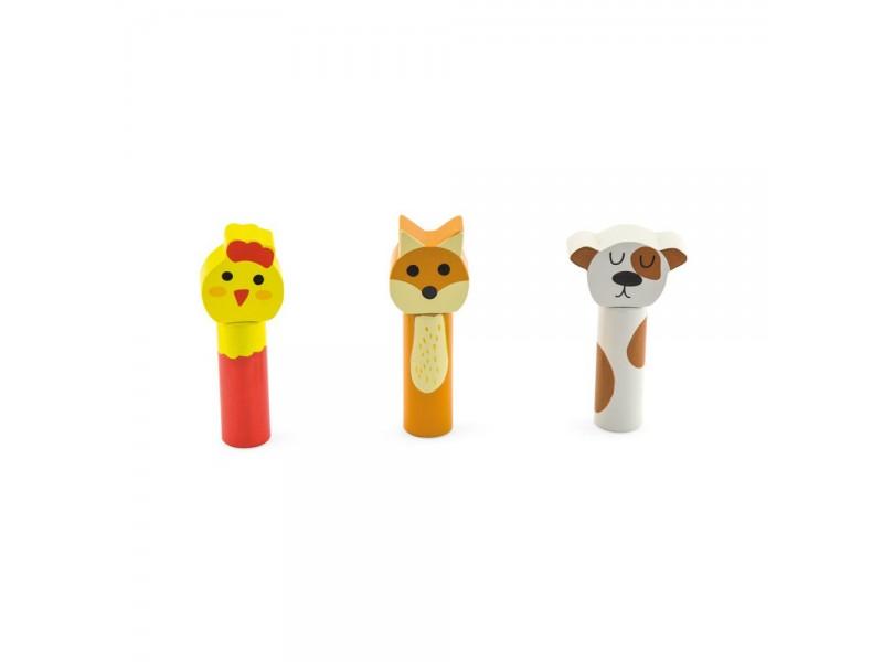 """Играчка с чукче """"Подскачащи животни"""" петле, лисица и куче"""