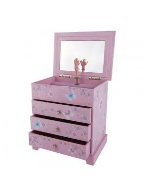Музикална кутия за бижута с три чекмеджета Феята Парма