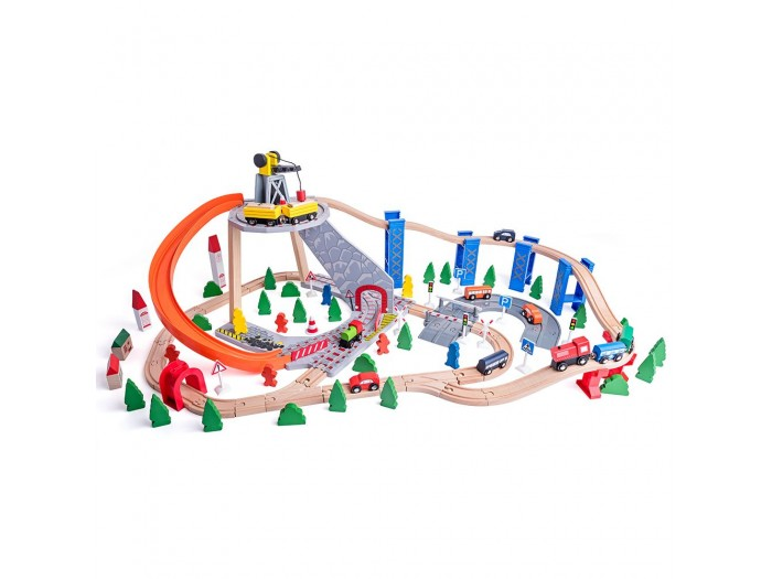 Влак с релси, пързалка и кран 130 части