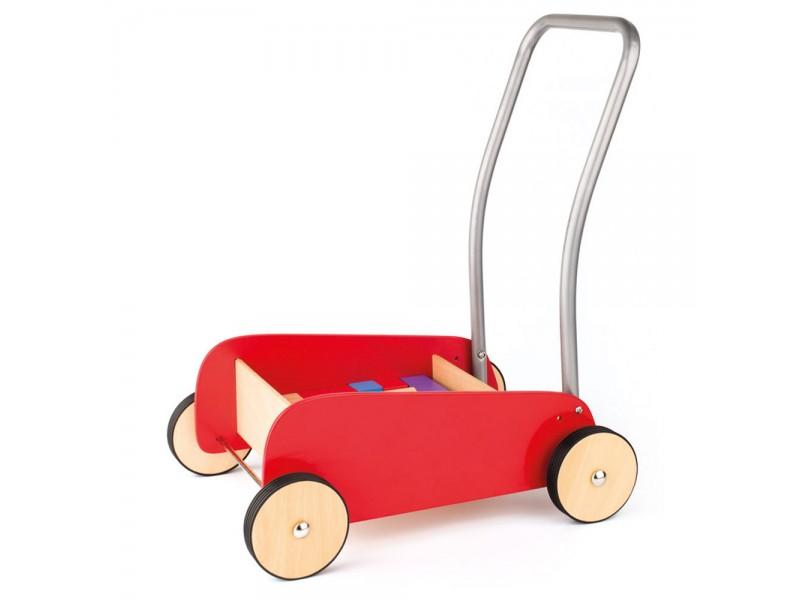 Дървена количка за прохождане с конструктор