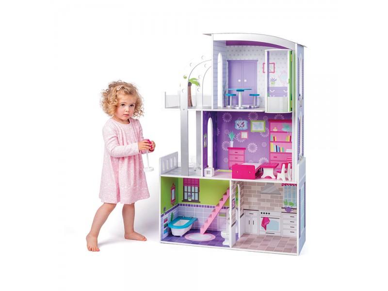 Къща за кукли на три етажа с обзавеждане Прованс
