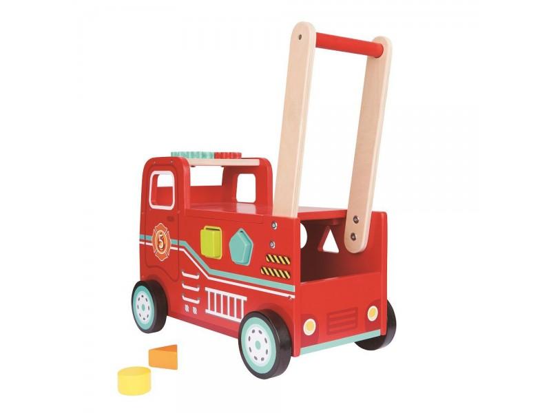 Бебешка проходилка и количка за бутане - Пожарна 2 в 1