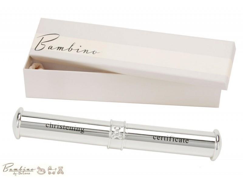 Bambino Цилиндър за съхранение на сертификат от раждане или кръщене със сребърно покритие