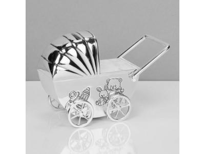 Касичка количка със сребърно покритие и възможност за гравиране с текст по избор
