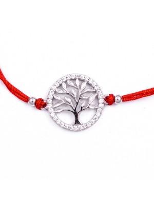 Сребърна гривна с червен конец - Дървото на живота