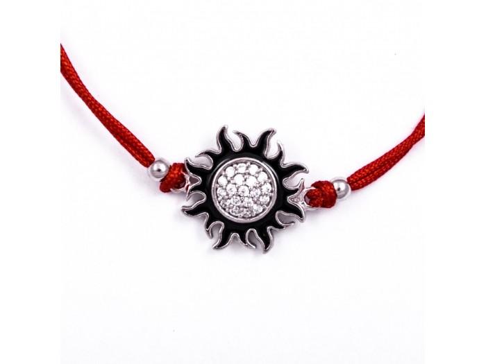 Сребърна гривна с червен конец - Слънце