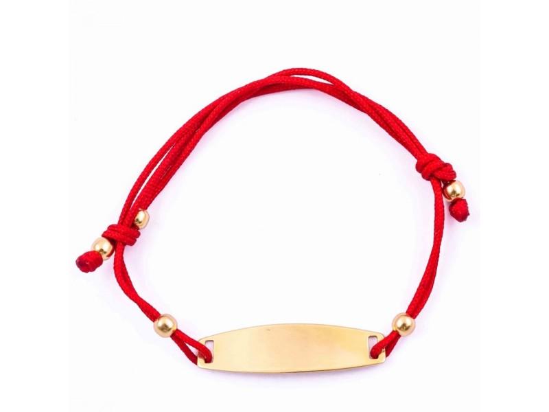 Гривна с червен конец и златна плочка с включено гравиране