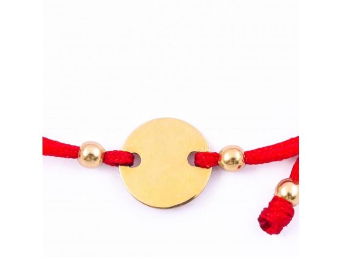 Златна гривна от червен конец и плочка с включено гравиране