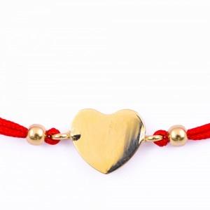 Златна гривна с Червен Конец и Сърце с включено гравиране