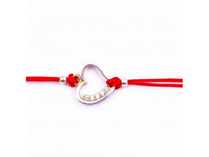 Сребърна гривна с червен конец - сърце и камъчета