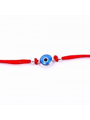 Сребърна гривна за бебе с червен конец - Око против уроки