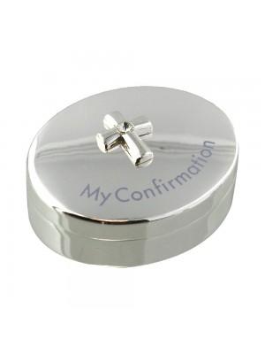 Посребрена кутийка с кръст и кристални детайли - My Confirmation