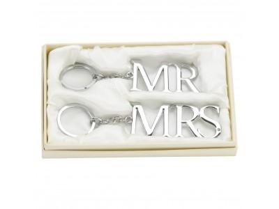 Комплект ключодържатели със сребърно покритие на 'Mr & Mrs'