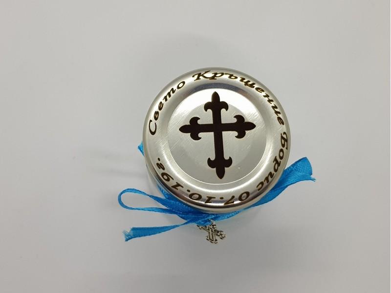 Подарък за гостите на кръщене - бурканче с лазерно гравиране и кръст