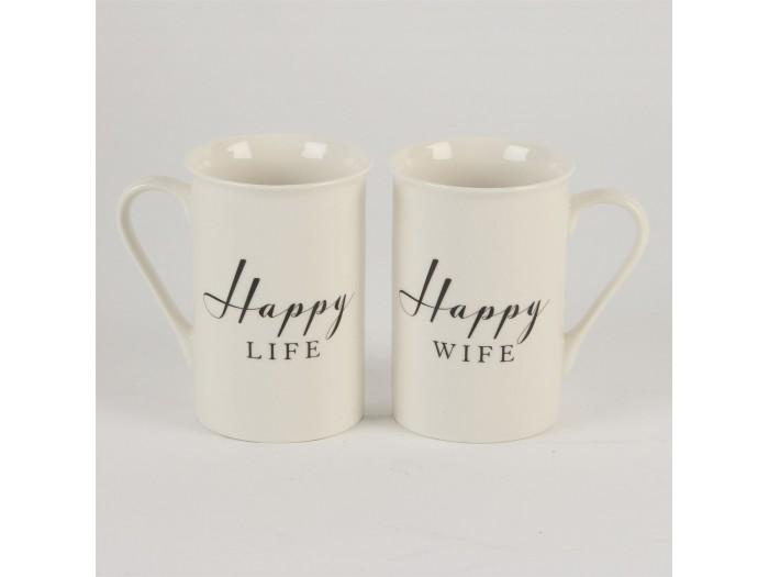 Луксозен комплект сватбени чаши Amore Happy Life / Happy Wife