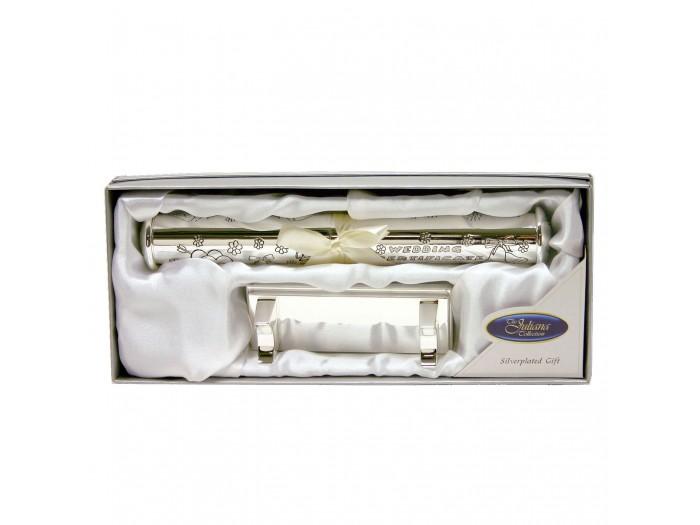 Цилиндър за съхранение на сватбен сертификат и стойка