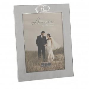 Amore сватбена фоторамка със сребърно покритие за снимка с  размери 13х18см