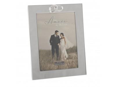 Сватбена фоторамка със сребърно покритие за снимка с  размери 13х18см