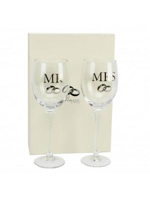 """Kомплект сватбени чаши """"Mr"""" и """"Mrs"""" за вино"""