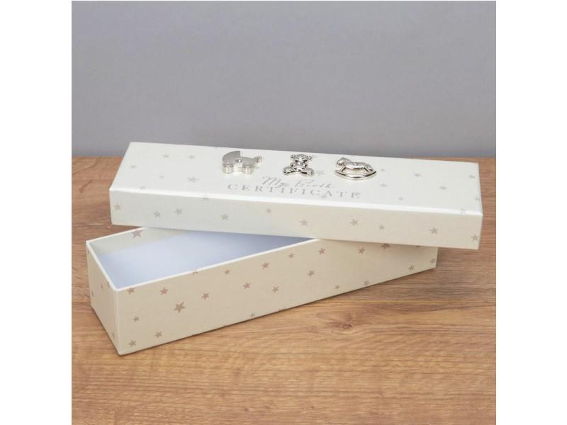 Красива кутия за съхранение на акт за раждане слонова кост