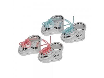 Комплект кутийки розови или сини със сребърно покритие- ботушки
