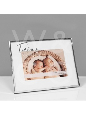 Kрасива фоторамка за близнаци със сребърно покритие за снимка с размер 15x10 см