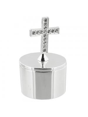 Kутийка с кръст и диаманти  със сребърно покритие