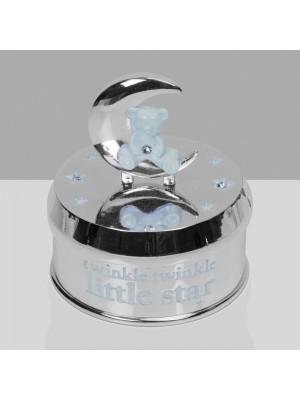 Музикална кутия със сребърно покритие с мече и луна - синьо
